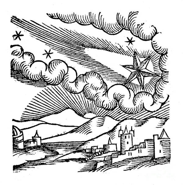 Comet Art Print featuring the drawing Comet Of 1456 Halley, 1557 by Print Collector
