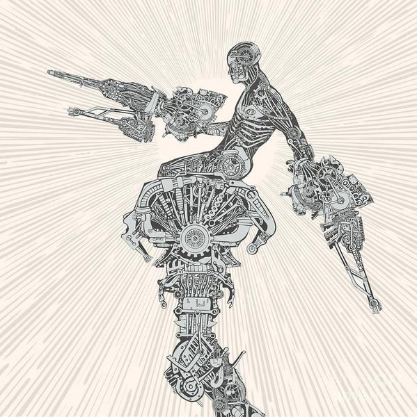 Steampunk Art Print featuring the digital art Comic-book Style Cyborg Hero by Ryger
