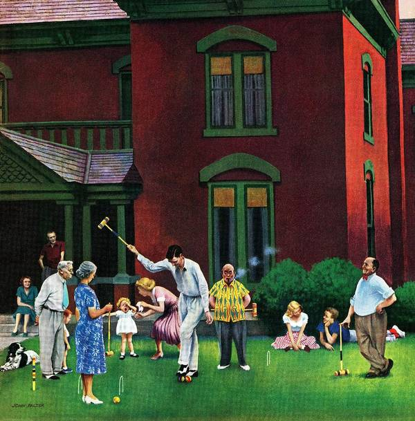 Croquet Art Print featuring the drawing Croquet Game by John Falter