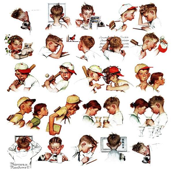 Baseball Art Print featuring the drawing Day In The Life Of A Boy by Norman Rockwell