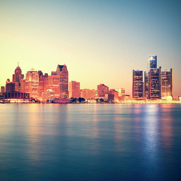 Downtown District Art Print featuring the photograph Detroit At Sunset by Espiegle