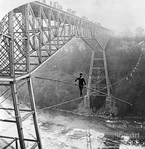 People Art Print featuring the photograph Dixon Crossing Niagara On A Tightrope by Bettmann