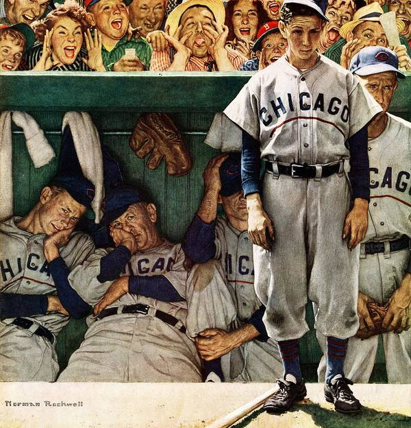 Baseball Art Print featuring the drawing dugout by Norman Rockwell