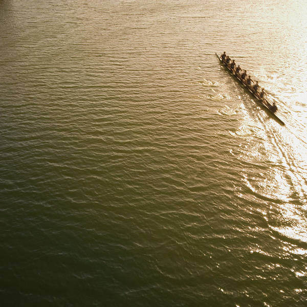 Sport Rowing Art Print featuring the photograph Eight Person Rowing Team In Shell With by David Madison