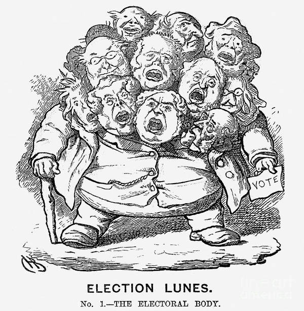 Engraving Art Print featuring the drawing Election Lunes, 1865. Artist Charles by Print Collector