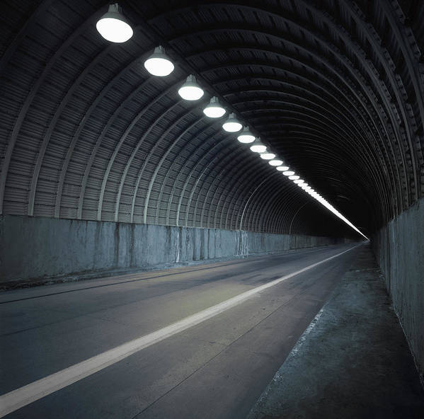 Empty Art Print featuring the photograph Empty Tunnel With Lights Digital by Ed Freeman