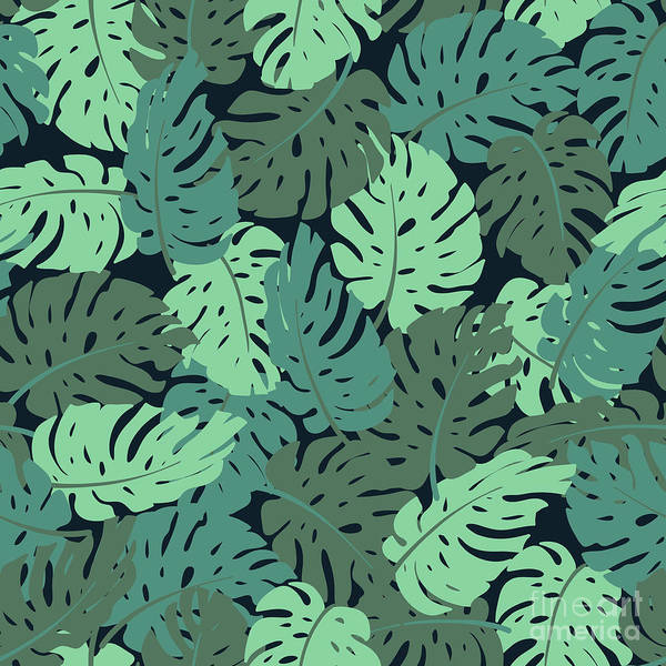 Art Art Print featuring the digital art Exotic Leaves, Rainforest. Seamless by Utro na more