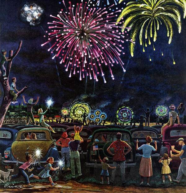Automobiles Art Print featuring the drawing Fireworks by Ben Kimberly Prins