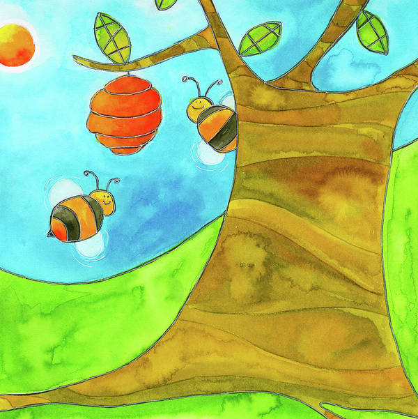 A Beehive Hanging From A Tree Art Print featuring the mixed media Fpinf018 by Esteban Studio