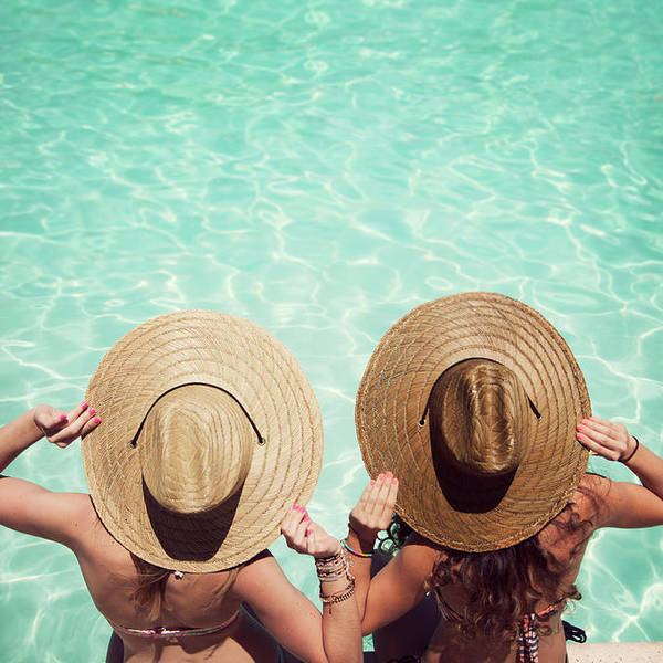 Fedora Art Print featuring the photograph Friends By The Pool by Becon