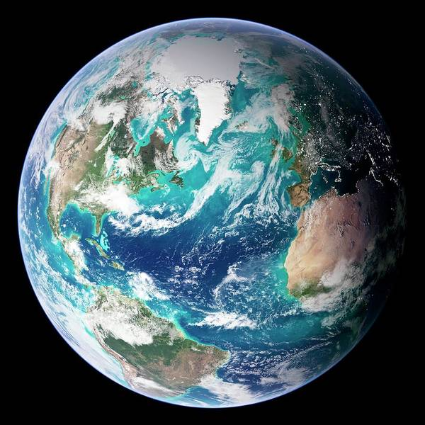 Topography Art Print featuring the digital art Full Earth, Close-up by Science Photo Library - Nasa Earth Observatory