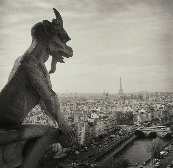 Eiffel Tower Art Print featuring the photograph Gargoyle Of Notre Dame by Zeb Andrews