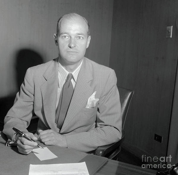 People Art Print featuring the photograph George Kennan Writing At Desk by Bettmann