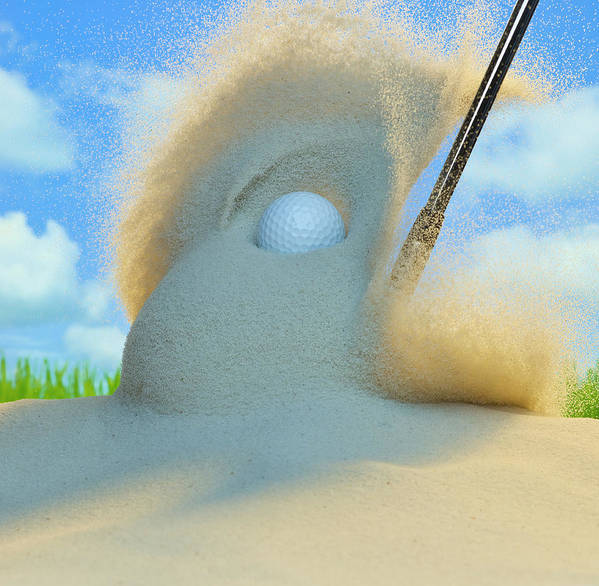 Drive Art Print featuring the photograph Golf Ball Being Driven Out Of A Sand by Don Farrall