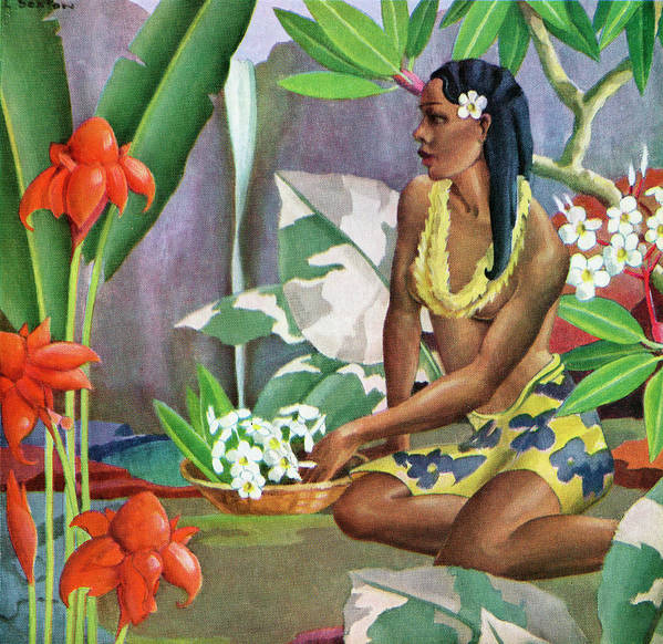 People Art Print featuring the photograph Hawaiian Woman In Landscape by Graphicaartis