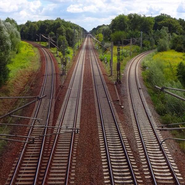 Tranquility Art Print featuring the photograph High Angle View Of Empty Railroad Tracks by Thomas Albrecht / Eyeem