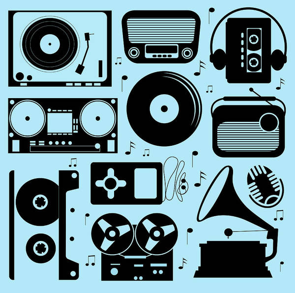 Music Art Print featuring the digital art Illustration Of Different Musical by Olillia