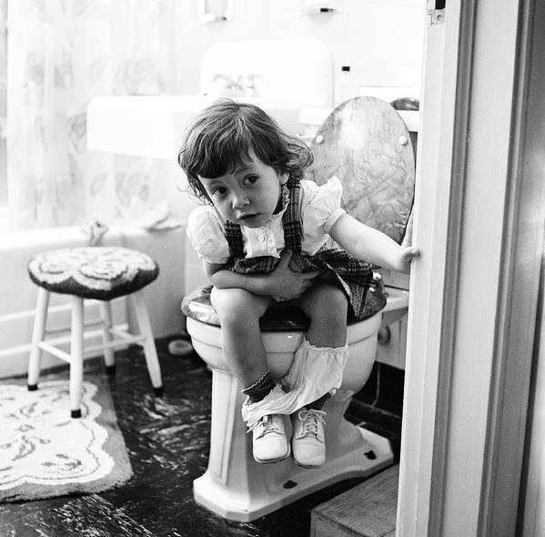 Child Art Print featuring the photograph In The Bathroom by Rae Russel