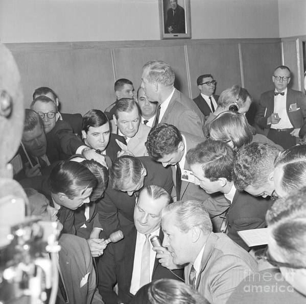 People Art Print featuring the photograph Jack Ruby With Lawyer Outside Court by Bettmann