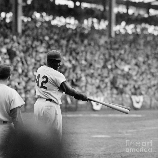 Sports Helmet Art Print featuring the photograph Jackie Robinson At 1955 World Series by Robert Riger