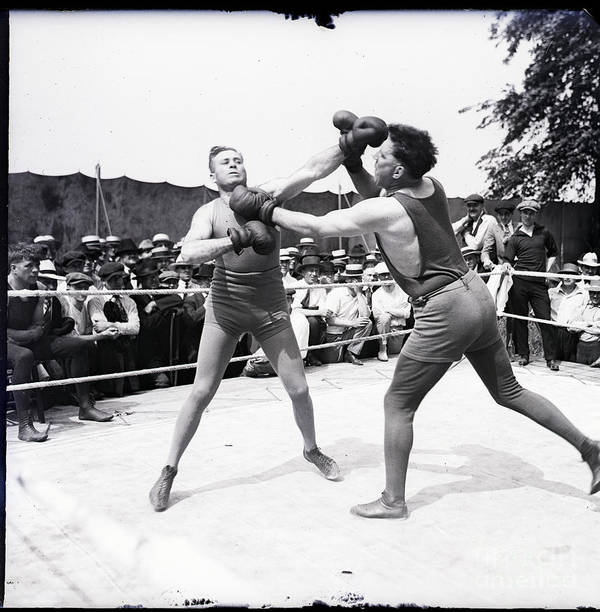 Crowd Of People Art Print featuring the photograph Jess Willard With Walter Monahan by Bettmann