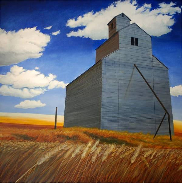 Wheat Art Print featuring the painting Johnson Silo by Leonard Heid