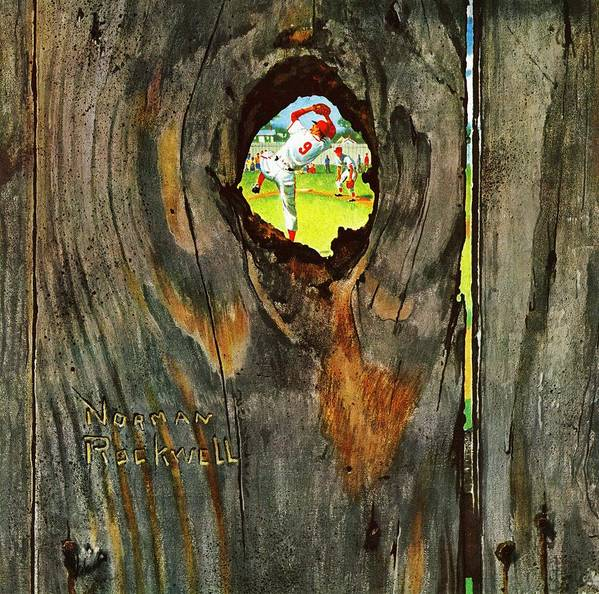 Baseball Art Print featuring the drawing Knothole Baseball by Norman Rockwell