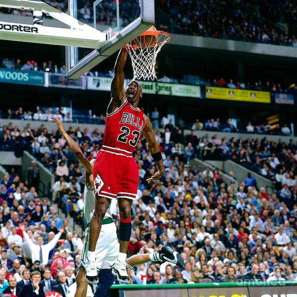 Chicago Bulls Art Print featuring the photograph Michael Jordan Dunks The Ball by Nathaniel S. Butler