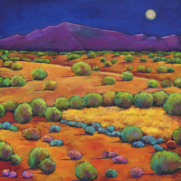 Contemporary Southwest Art Print featuring the painting Midnight Sagebrush by Johnathan Harris