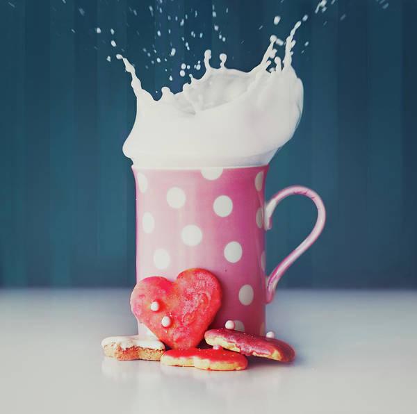 Milk Art Print featuring the photograph Milk And Heart Shape Cookies by Julia Davila-lampe