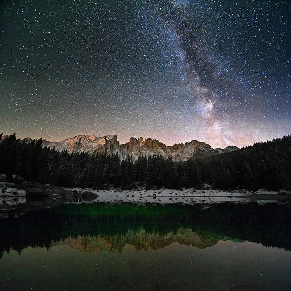Scenics Art Print featuring the photograph Milky Way In The Alps by Scacciamosche