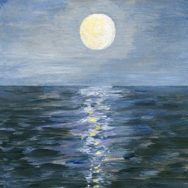 Oil Painting Art Print featuring the digital art Moonlight Reflection In The Sea by Mitza