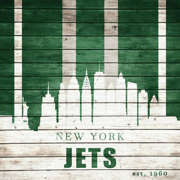 New York Jets Skyline Art Print featuring the mixed media New York Jets Skyline by Dan Sproul