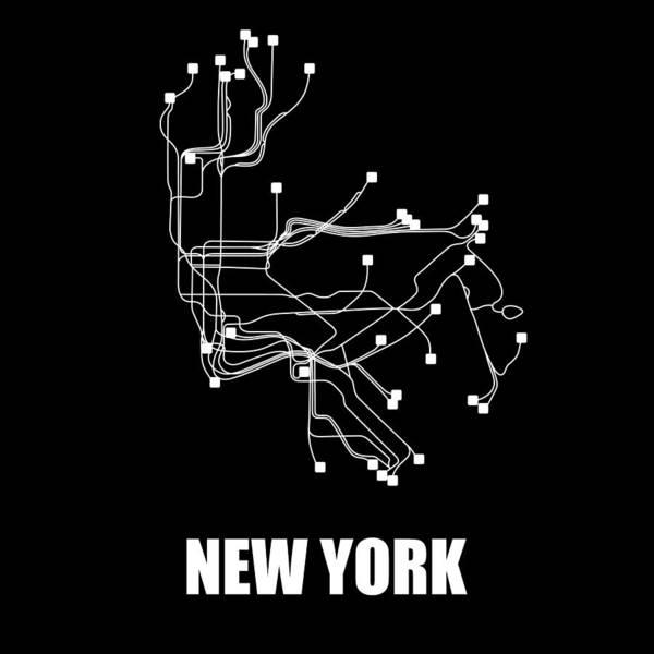New York Art Print featuring the digital art New York Subway Map by Naxart Studio