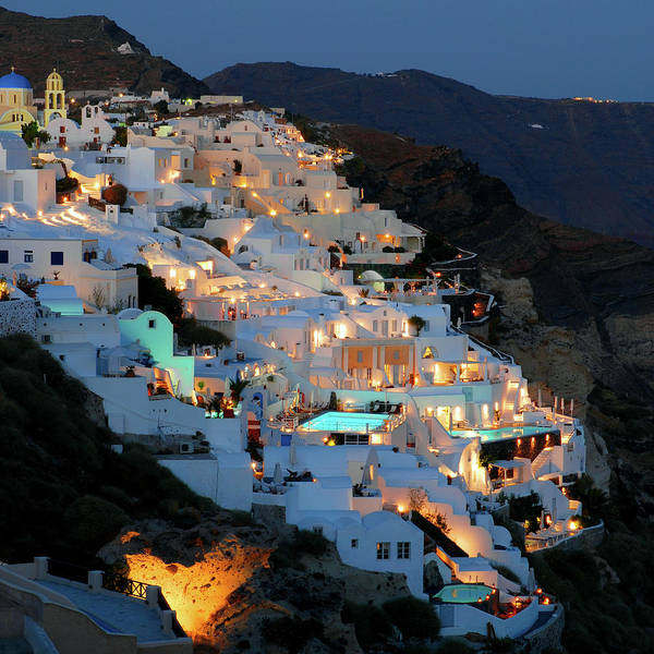 Tranquility Art Print featuring the photograph Oia, Santorini Greece At Night by Marcel Germain