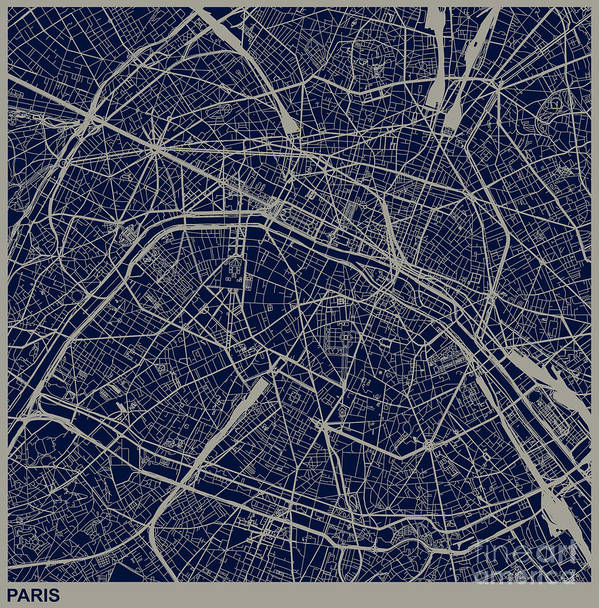 Rectangle Art Print featuring the digital art Paris City Structure Illustration by Shuoshu
