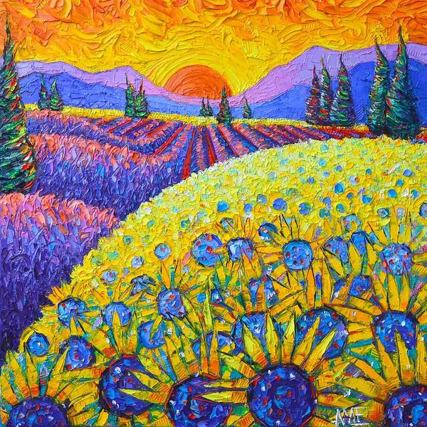 PROVENCE COLORS SUNFLOWERS AND LAVENDER FIELD textural impasto knife oil painting Ana Maria Edulescu by Ana Maria Edulescu