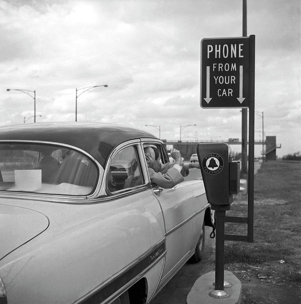 1950-1959 Art Print featuring the photograph Roadside Public Telephone by Underwood Archives
