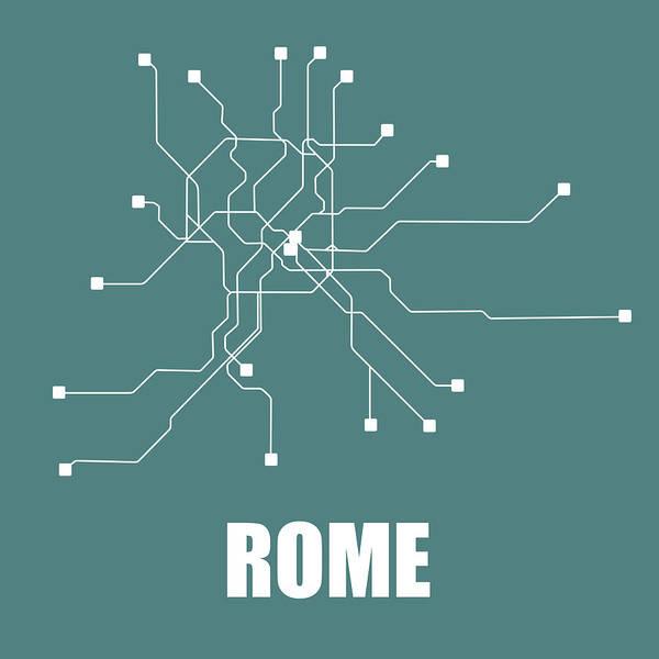 Rome Art Print featuring the digital art Rome Teal Subway Map by Naxart Studio