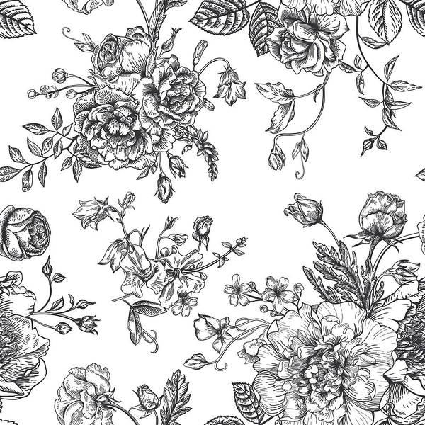 Art Art Print featuring the digital art Seamless Pattern With Bouquet Of by Nata slavetskaya