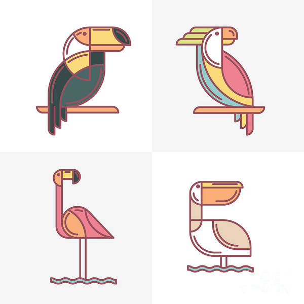 Symbol Art Print featuring the digital art Set Of Vector Exotic Tropical Birds by Betelgejze