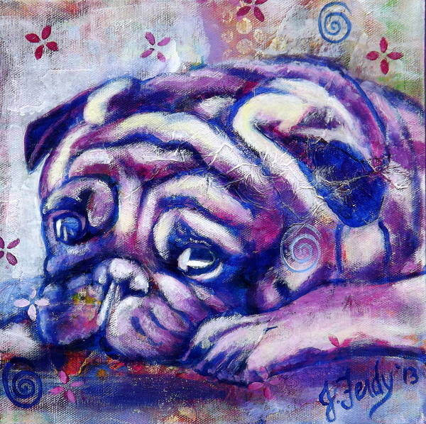 Pug Art Print featuring the painting Sleepy Pug by Goddess Rockstar