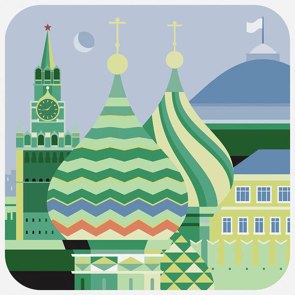 Outdoors Art Print featuring the digital art Spires Of St Basils The Blessed by Nigel Sandor