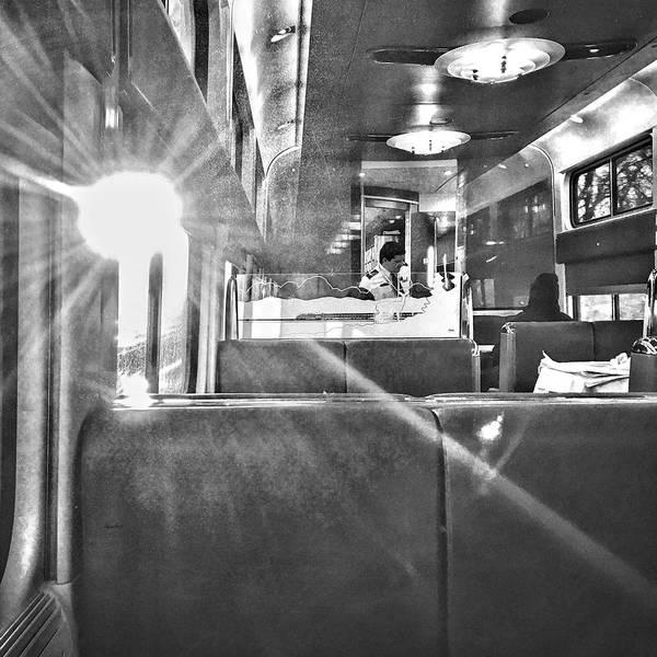 Sun Flare On Train Art Print featuring the photograph Sun Flare on Train by Sharon Popek