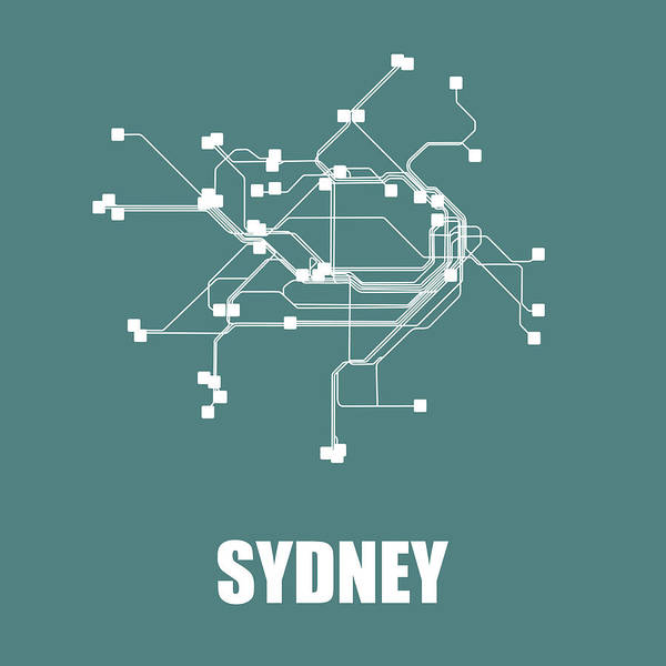 Sydney Art Print featuring the digital art Sydney Teal Subway Map by Naxart Studio