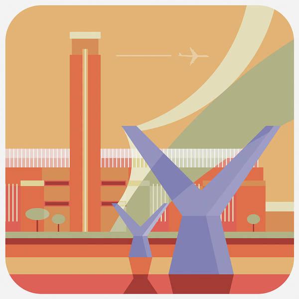 London Millennium Footbridge Art Print featuring the digital art Tate Gallery And Millennium Bridge by Nigel Sandor