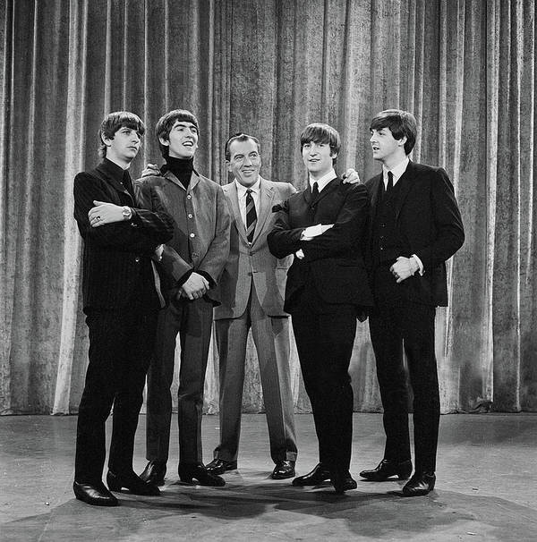 The Beatles Art Print featuring the photograph the beatles and ed sullivan - February, 1964 by Mountain Dreams