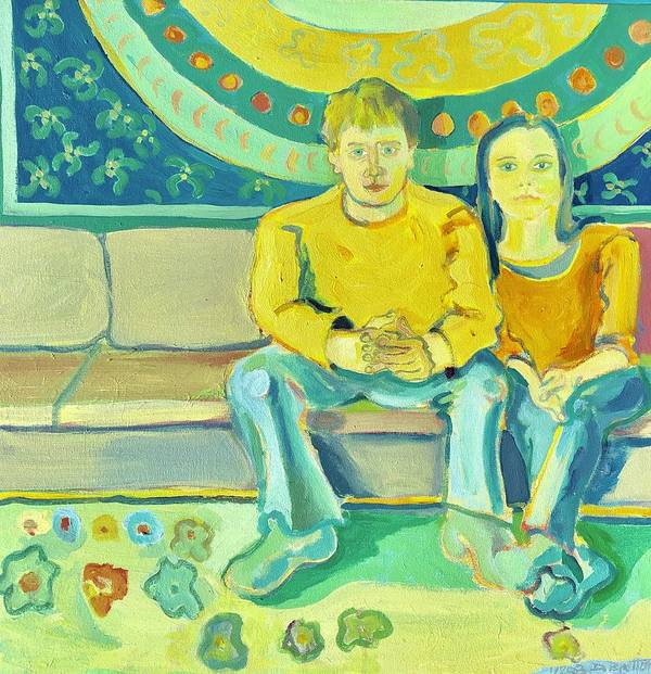 Portrait Art Print featuring the painting The Engaged Couple by Debra Bretton Robinson