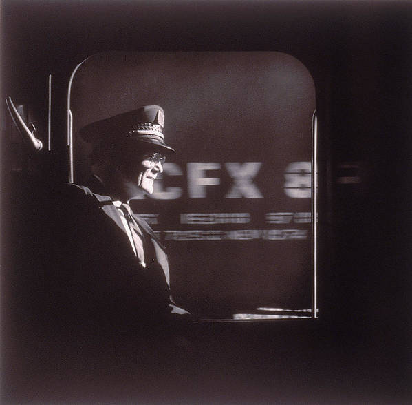 Working Art Print featuring the photograph Train Conductor Looking Out Of Window by John Coletti
