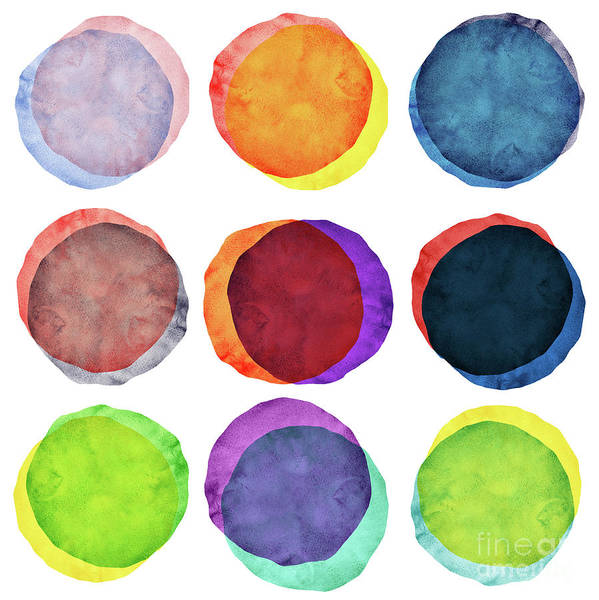 Watercolor Painting Art Print featuring the photograph Watercolor Painted Circles Various by Momentousphotovideo